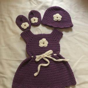 Other - Handmade crochet baby dress set.